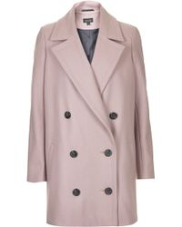Topshop Womens Double Breasted Wool Pea Coat - Pale Pink - Lyst