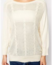 Sessun Open Knit Jumper With 3/4 Sleeve - Lyst