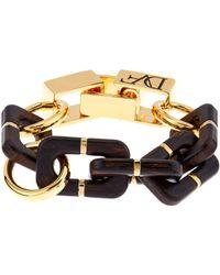 Diane von Furstenberg - Wood-Grained Resin And Gold-Plated Bracelet - Lyst