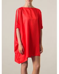 Mm6 By Maison Martin Margiela Asymmetric Hem Shift Dress - Lyst