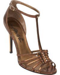 Lanvin Metallic Nail-Head T-Strap Sandals - Lyst