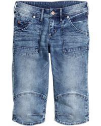 H&M Denim Clamdiggers blue - Lyst