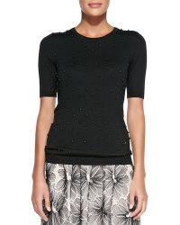Lela Rose Half-Sleeve Sweater W/ Beaded Front - Lyst