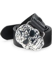 King Baby Studio Baroque Skull Leather Belt black - Lyst