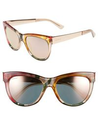 Gucci 'Flora' 55Mm Retro Sunglasses beige - Lyst