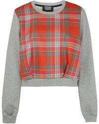 Markus Lupfer Pink Alison Tartan Panel Cotton Sweatshirt - Lyst