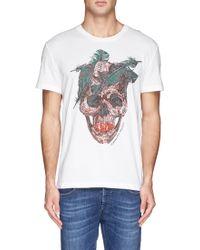 Alexander McQueen Feather Skull Print T-shirt - Lyst