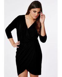 Missguided Plus Size Wrap Dress Black - Lyst