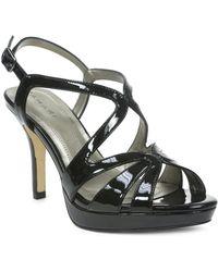 Tahari Balthasar Patent Leather Strappy Peep-Toe Sandals - Lyst
