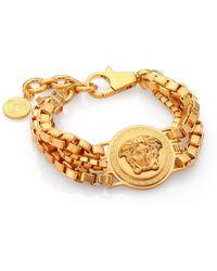 Versace Bijoux Triple Chain Medusa Bracelet - Lyst