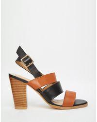 Warehouse - Leather Colourblock Heeled Sandals - Lyst