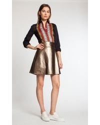 Temperley London Temperley Leather Skirt gold - Lyst