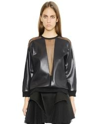 Christopher Kane Faux Leather Top With Mesh Inserts - Lyst