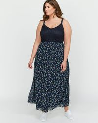 a40cdac700 Addition Elle - Michel Studio A-line Empire Waist Mixed Fabric Maxi Dress -  Lyst