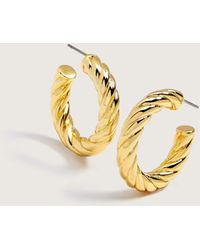 Pilgrim Gold Plated Twisted Hoop Earrings - Metallic