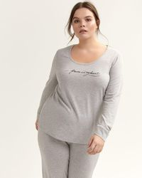 Addition Elle - Leopard-print Long Sleeve Pajama Top - Déesse Collection - Lyst