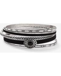 Addition Elle - Set Of 5 Silver Black Bangles - Lyst