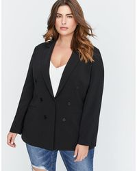 Addition Elle - Semi-fitted Faux Double-breasted Blazer - Michel Studio - Lyst
