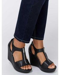 Addition Elle - Open Toe Wedge Heel With Zipper Detail - Serena - Lyst