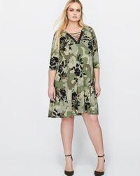 Addition Elle - L&l Lace-up Camo Print Dress - Lyst