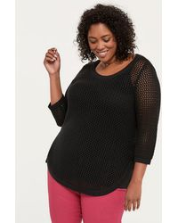 edde83ee3e2fc Addition Elle - 3 4 Sleeve Cotton Sweater With Open Stitching - In Every  Story