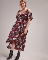 a8888ae9b09da Addition Elle - Faux-wrap Fit And Flare Printed Maxi Dress - Michel Studio -