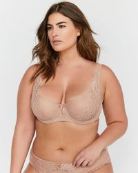 c150cb625a025 Lyst - Addition Elle Printed Diva Demi Cup Bra With Lace - Ashley Graham