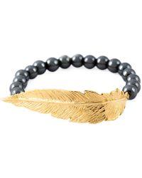 Leivan Kash - Beaded Feather Bracelet - Lyst
