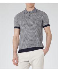 Reiss Folio Geometric Knitted Polo Shirt - Lyst