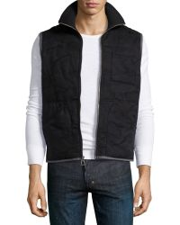 Howe Quilted Twill Vest Black - Lyst