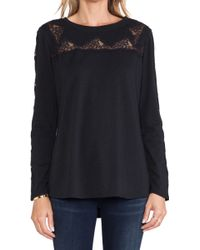 Rebecca Taylor Lace Piece Long Sleeve Top - Lyst