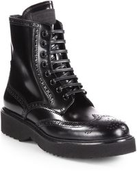 Prada Leather Wingtip Lace-Up Ankle Boots - Lyst