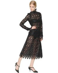 Dolce & Gabbana Macramé Lace And Tulle Dress - Lyst