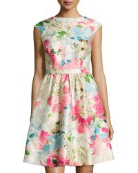 Cynthia Steffe Floral-Print Jacquard Fit-And-Flare Dress pink - Lyst