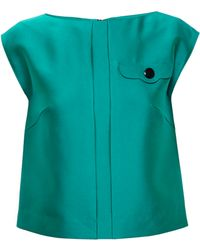 OSMAN Sleeveless Top With Placket Detail green - Lyst