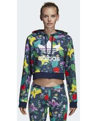 adidas - Cropped Graphic Hoodie - Lyst