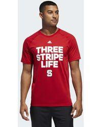 adidas - Wolfpack Three Stripe Life Tee - Lyst