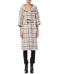 Carven - Checked Belted Coat - Lyst