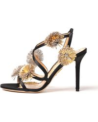 f081b9cc93a891 Charlotte Olympia - Women s Embellished Satin Slingback High-heel Sandals -  Lyst