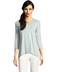 Adrianna Papell | Three Quarter Sleeve Sharkbite Top With Embroidered Front Petite-regular | Lyst