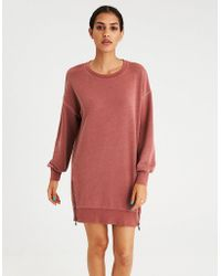 American Eagle - Ae Active Washed Balloon Sleeve Fleece Zipper Dress - Lyst
