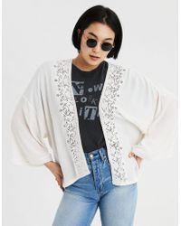 American Eagle - Ae Embroidered Lace Trim Kimono - Lyst
