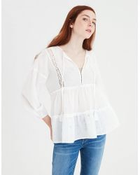 American Eagle - Ae Allover Eyelet Tiered Top - Lyst