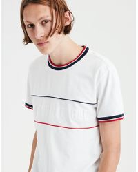 American Eagle - Ae Branded Striped Graphic Tee - Lyst