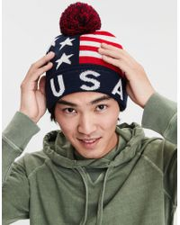 2d0ec263df4a9 Lyst - American Eagle Ae Pom Pom Beanie in Red for Men
