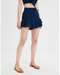 American Eagle - Ae Lace-up Ruffle Short - Lyst