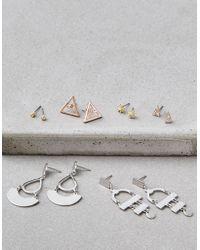 American Eagle - Silver Geo Earrings - Lyst