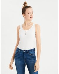 American Eagle - Ae Soft & Sexy Ribbed Henley Tank Top - Lyst