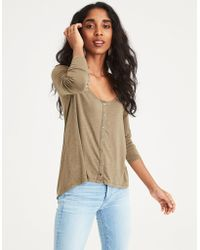 82d7089247c81c Lyst - American Eagle Ae Soft   Sexy Long Sleeve Shirred Neck T ...