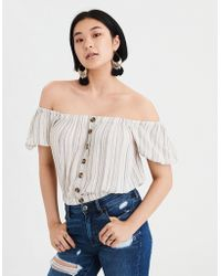 American Eagle - Ae Off-the-shoulder Button Up Blouse - Lyst